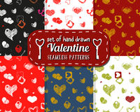 Set of Seamless Pattern with Hearts. St. Valentine's Day Design. Element. Doodle Style. Vector Stock Royalty Free Stock Photos