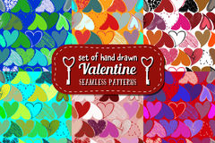 Set of Seamless Pattern with Hearts. St. Valentine's Day Design. Element. Doodle Style. Vector Stock Royalty Free Stock Photo