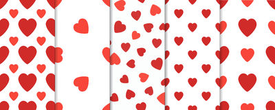 Set of 5 seamless pattern with hearts. Valentines Day vector background. Set of 5 seamless pattern with hearts. Valentines Day background Stock Photo