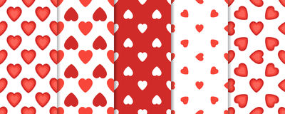 Set of 5 seamless pattern with hearts on white background. St. Valentines day vector illustration. Set of 5 seamless pattern with hearts on white background. St Stock Images
