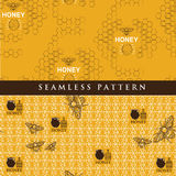Set seamless pattern for honey product. Vector illustration of set seamless pattern for honey product Stock Photography