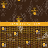 Set seamless pattern for honey product Stock Photography
