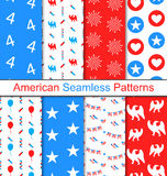 Set Seamless Pattern for Independence Day Royalty Free Stock Image