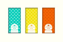 Set of seamless pattern and labels for chocolate packaging. Bright color background