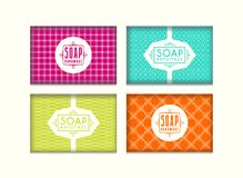 Set of seamless pattern and labels for handmade soap packaging. Bright color background