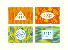 Set of seamless pattern and labels for organic soap packaging. Illustration with the image of cactuses. Bright color background
