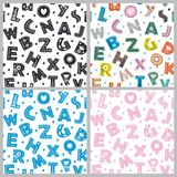Set of seamless pattern with letters in Scandinavian style Stock Photos