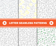 Set of seamless pattern with mail envelopes. Vector background for postal delivery. Stock Photo