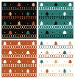 Set of seamless pattern for Merry Christmas and New Year. Trees, snowflake. Retro Stock Photos
