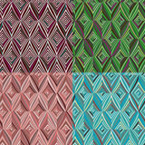 Set of 4 seamless pattern. Modern stylish texture. Repeating geometric tiles with green, blue, burgundy and pink striped rhombus Royalty Free Stock Photography