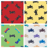 Set seamless pattern of motorcycles royalty free illustration