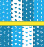 Set Seamless Pattern with Nautical Elements Stock Images