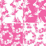 Set of Seamless pattern with orchids silhouette Royalty Free Stock Image