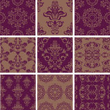 Set seamless pattern of ornament flowers. Seamless ornamental floral  pattern background Stock Image