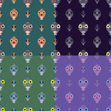 Set of seamless pattern owl backgrounds. Simple and cute illustration Royalty Free Stock Images