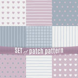 Set of seamless pattern with patchs Stock Image