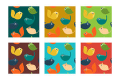 Set of Seamless Pattern with Pets and Wild Animals. Royalty Free Stock Images