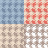 Set of 4 Seamless pattern. polka dot texture. doodle Stock Photo