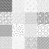 Set of seamless pattern with polka dot texture. Stylish doodle seamless pattern set. Hand drawn casual polka dot texture. Pointillism Royalty Free Stock Image