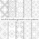 Set of 10 seamless pattern. Repeating abstract background. Modern stylish texture royalty free illustration