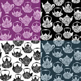 Set of seamless pattern with retro design china tea pots. Vintage background. Black and white silhouettes on purple, black, white and navy blue backgrounds Royalty Free Stock Images