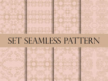 Set of seamless pattern in retro style of the Baroque. Victorian seamless pattern. Classic designs. Vector. Illustration Stock Photo