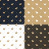 Set seamless pattern in retro style with a white and gold crown on a blue, gold, white and brown background. Stock Image