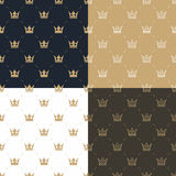 Set seamless pattern in retro style with a white and gold crown on a blue, gold, white and brown background.  Stock Photo