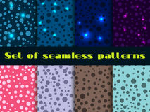 Set seamless pattern with shining sequins. Magical festive backgrounds. Vector illustration Stock Image