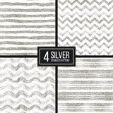 Set of seamless pattern  silver glitter stripes, zigzag chevron, wavy stripe Stock Photography