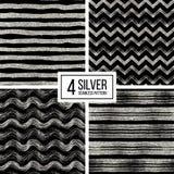 Set of seamless pattern  silver glitter stripes, zigzag chevron, wavy stripe Royalty Free Stock Photos