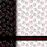 Set of seamless pattern with sing or symbol of cat food. vector Royalty Free Stock Photography