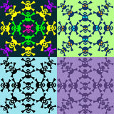 Set of seamless pattern of skulls Royalty Free Stock Photo