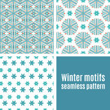 Set seamless  pattern of snowflakes Royalty Free Stock Photography