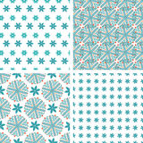 Set seamless  pattern of snowflakes Stock Photos