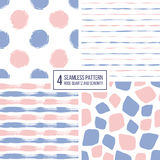 Set of seamless pattern  stripes, polka dots, mosaic spots in color 2016 rose quartz and serenity Royalty Free Stock Photography