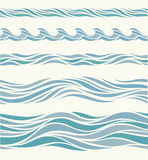 Set seamless pattern with stylized blue waves Royalty Free Stock Photo