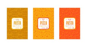 Set of seamless pattern and template labels for pizza and pasta Stock Photography