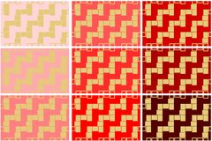 Set of 9 seamless pattern textures of golden rectangular geometric shapes over red shades background template Vector illustration royalty free illustration