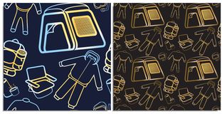 A set of seamless pattern for tourism products or sites dedicated to hiking and various sports, including water sports stock illustration