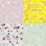 Set of 4 Seamless pattern of triangles. Vector Stock Images