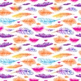 Set of seamless pattern vector feathers. EPS Royalty Free Stock Photography