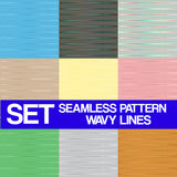 Set Seamless pattern Wavy lines,texture for backgr Stock Photo