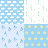 Set of seamless pattern of weather phenomenon Stock Photos