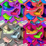Set of seamless pattern of women's shoes bright. vector illustra Stock Photo