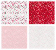 Set of seamless pattern of words love Stock Image