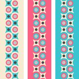 Set of seamless patterned borders in retro colors Royalty Free Stock Photos