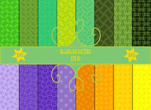 Set of 16 seamless patterns. Abstract design, in green, orange, yellow and blue colors royalty free illustration