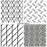 Set of seamless patterns - the abstract distorted lines, grids, Stock Photos