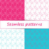 Set of seamless patterns. Abstract DNA molecule structure Royalty Free Stock Photo